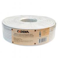Кабель коаксиальный CADENA RG-6U (75Ом, 48%) высокого качества белый,100м