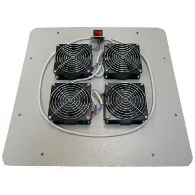 Модуль вентиляторный 4х220В с выключателем 19' с термостатом